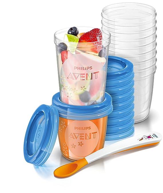 Philips Avent Pots de conservation 10x180 ml et 10x240 ml avec Couvercles associés et Cuillère de Sevrage
