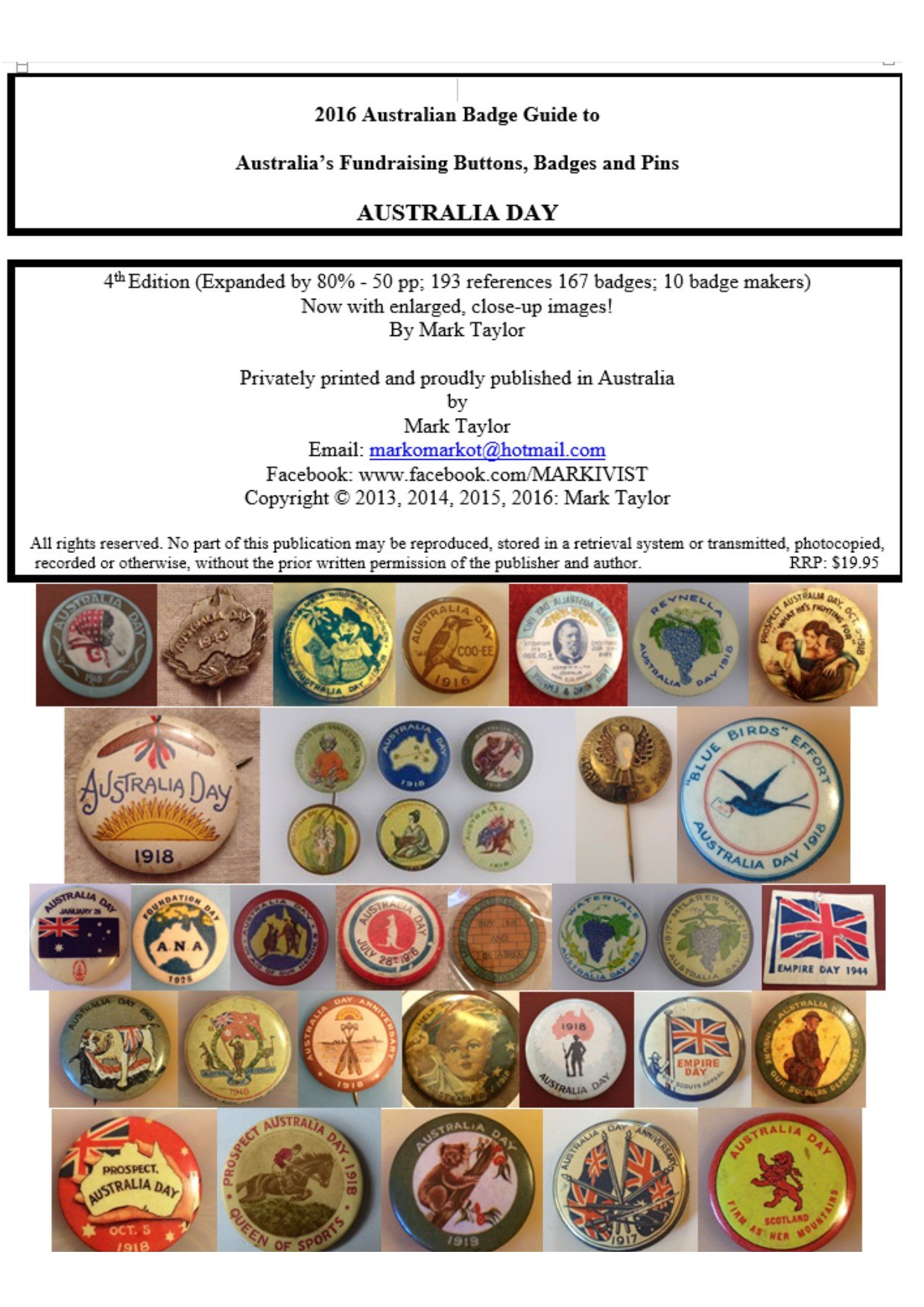 2016 Guide to Australia's Fundraising Buttons - Australia Day: Australia;s Fundraising Buttons Badges & Pins - Australia Day (English Edition)