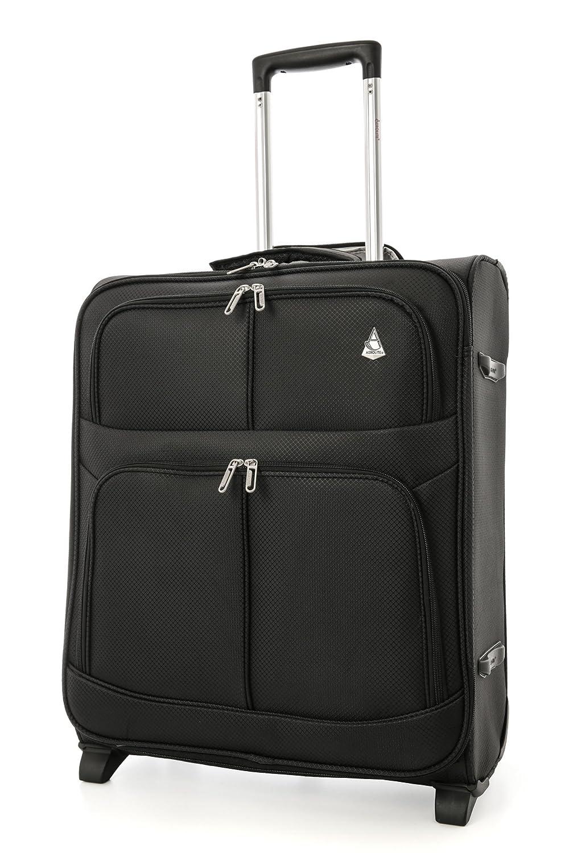 Bagage de Cabine Aerolite léger, Limite maximale autorisée par Easyjet et British Airways, Valise de Voyage 56x 45x 25avec 2Roues (60litres, Noire) AERO9614 BLACK