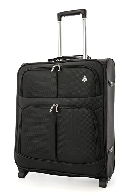68e162daa Aerolite easyJet British Airways Maximum Allowance 60L Lightweight 2 Wheel Travel  Carry On Hand Cabin Luggage Suitcase 56x45x25 Black: Amazon.co.uk: Luggage