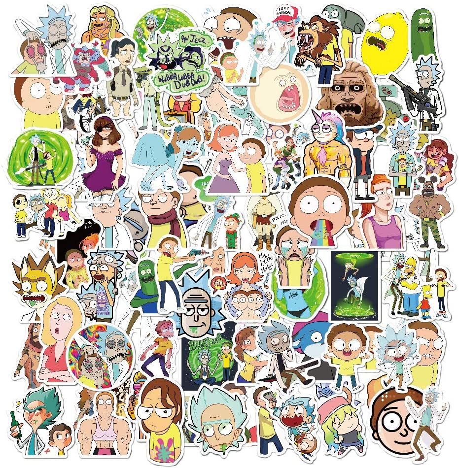 Rick and Morty Stickers for Hydro Flask,100 pcs Waterproof Water Bottle Stickers for Hydroflasks,Laptop,Phone,Luggage,Skateboard,Guitar,Cute Vinyl Stickers for Girls,Kids,Teens (Rick and Morty)