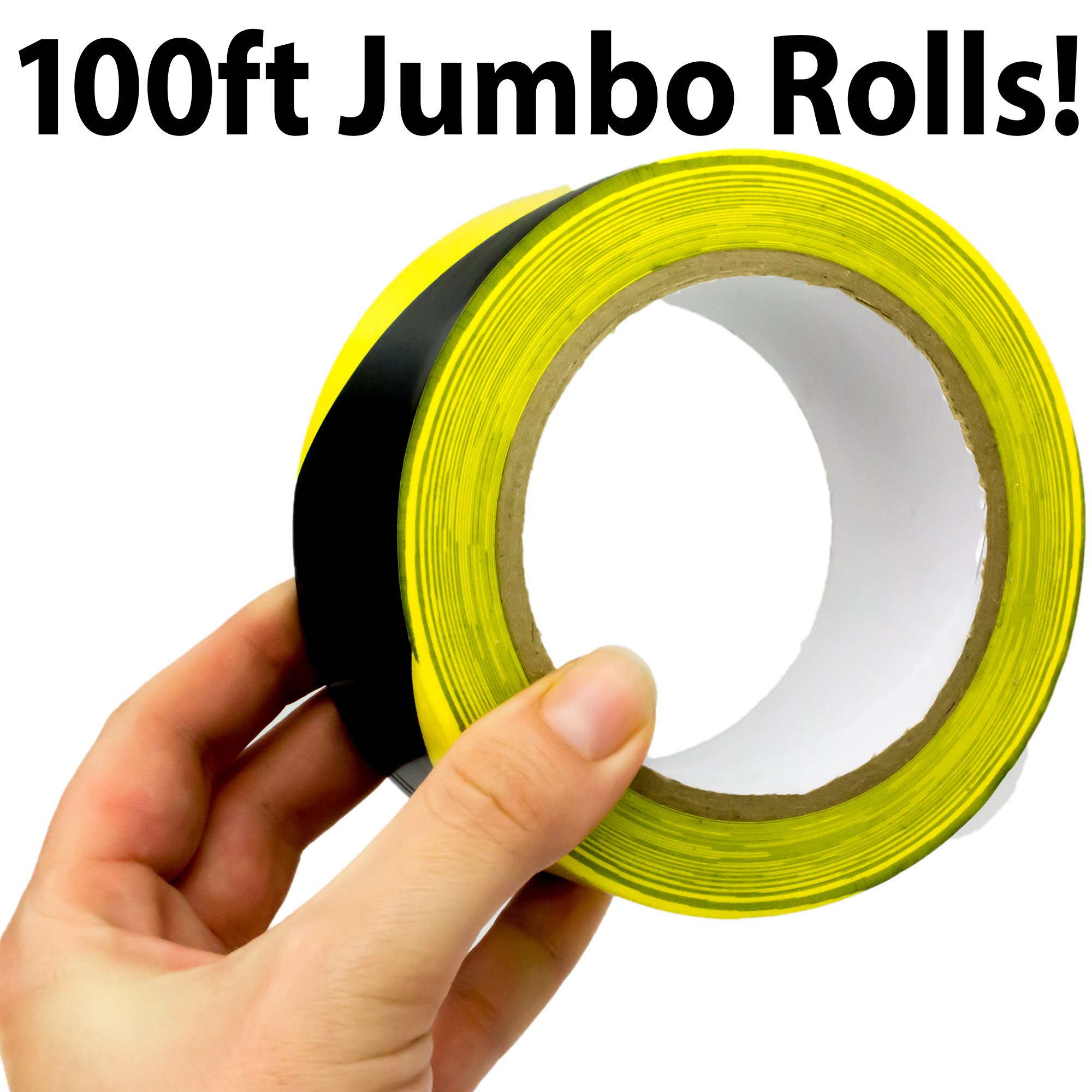 Double-Roll of Ultra-Adhesive, Black & Yellow Hazard Tape for Floor Marking. Mark Floors & Watch Your Step Areas for Safety with High-Visibility, Anti-Scuff, Striped PVC Vinyl by Nova Supply by Nova (Image #2)