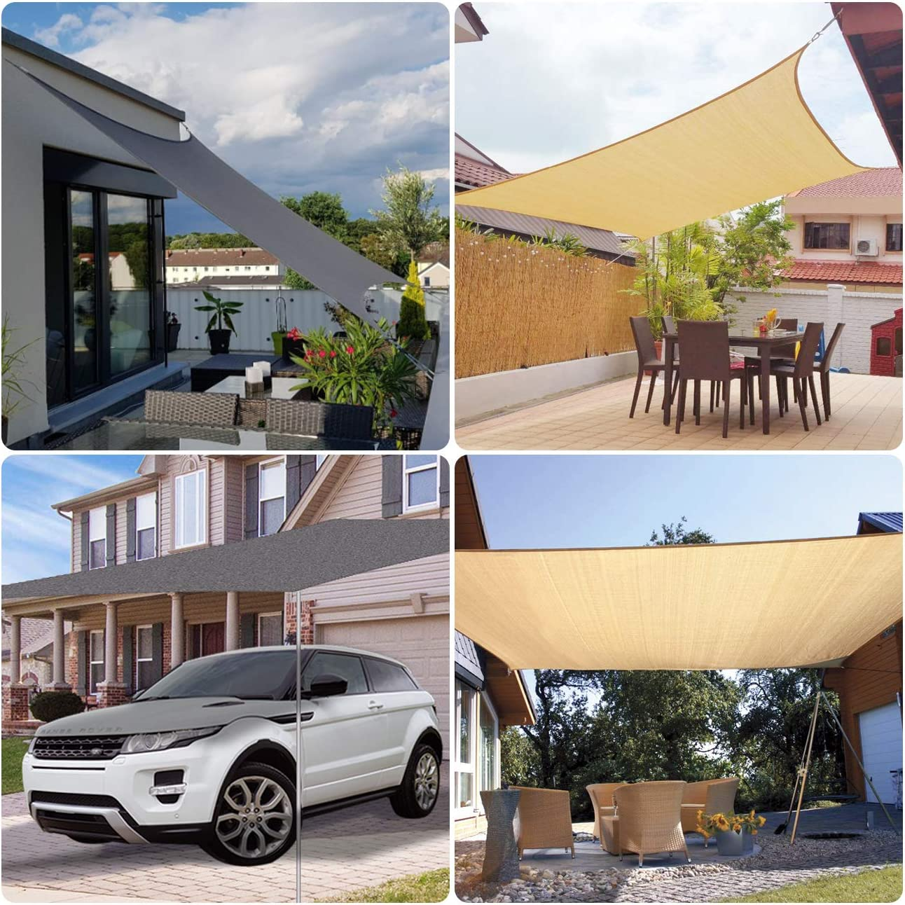 Sekey Toldo Vela de Sombra Rectangular HDPE Protección Rayos UV Resistente Permeable Transpirable para Patio, Exteriores, Jardín, 3× 4m Arena, con Cuerda Libre: Amazon.es: Jardín