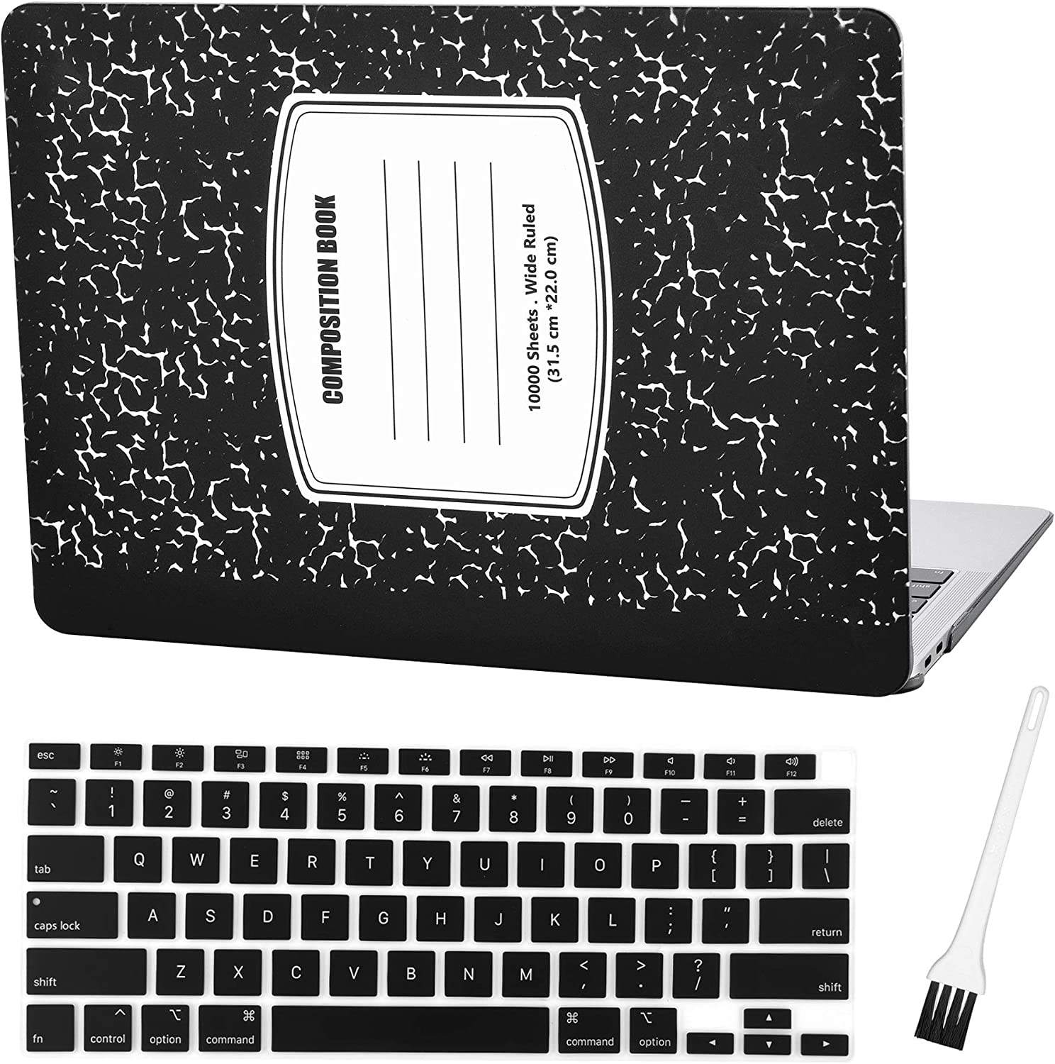 MacBook air 13 Inch Case A2179 2020 World Map Hard Shell Cover Sleeve Matte Rubberized with Silicon Keyboard Cover and Dust Brush (Black Notebook)