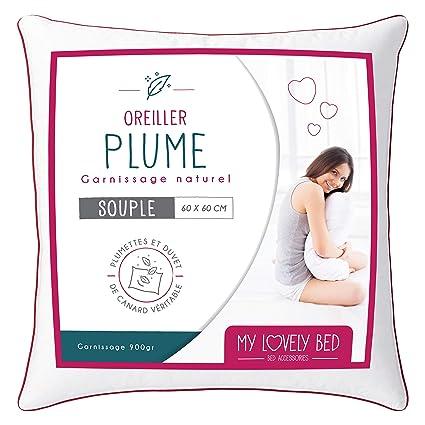 My Lovely Bed - Almohada Natural 60x60 cm - Relleno de Pluma y Plumón - Funda 100% Algodón - Gonflant y Mullido - Alta Calidad - Ultra Confort - ...