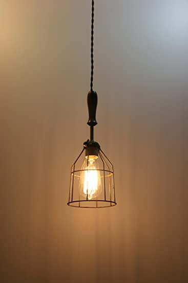 Industrial Hanging Pendant Light With Wood Handle And Vintage Style Wire  Cage Guard   Hanging Lamp