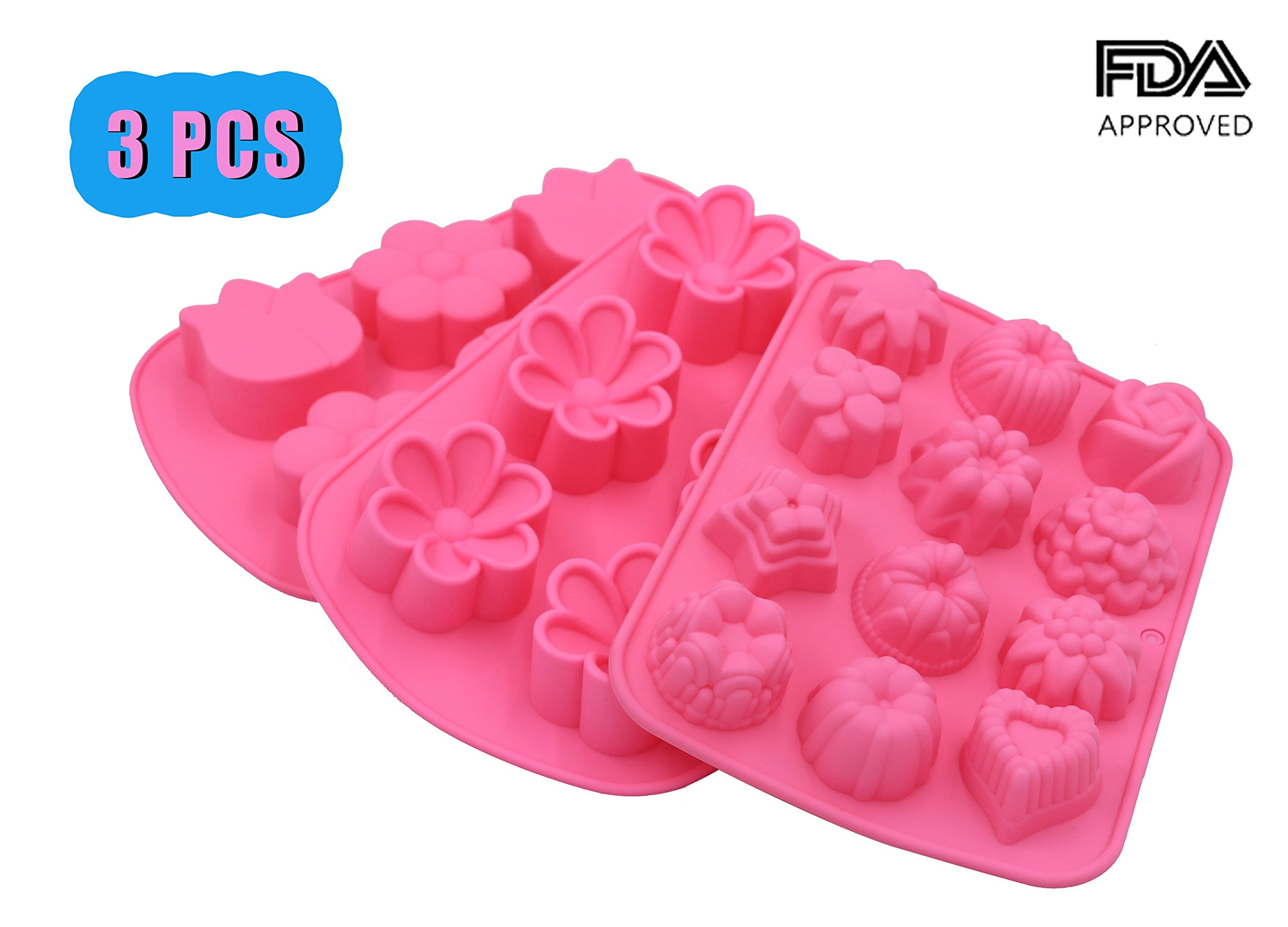 PONECA Cake Mold Silicone Mold 12 Cavity 6 Cavity Flower Shape Cake DIY for Homemade Cake Soap Jelly Pudding Chocolate Silicone Muffin 3PCS Non - Stick