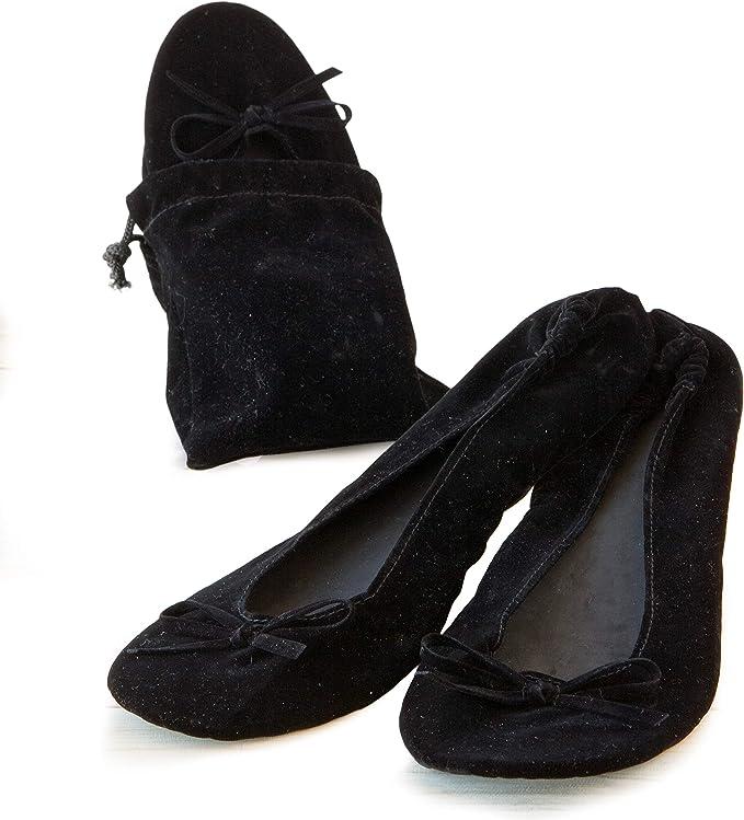 Mopec Zapatillas Bailarinas de Terciopelo Negro con Bolsa Talla M ...