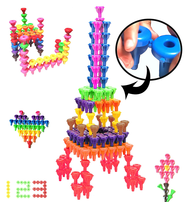 Brain Building Set Construction Toys - Interlocking Engineering Tinker Fine Motor Skills Educational Toys - 64 pc Stem Toys for Boys and Girls 3 4 5 6 7 Years Old Kids Korner