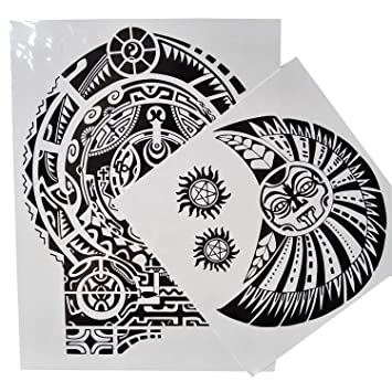 9c330671a Amazon.com : Kotbs 2 Sheets Extra Large Totem Temporary Tattoo Stickers,  Waterproof Big Temporary Tattoos for Men Adults Guys Women Body Art Arm  Shoulder ...