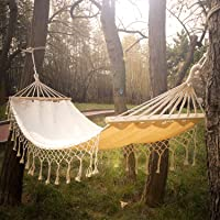 Cotton Fabric Hammock with Wood Spreader Bar and Fringed Macrame, Brazilian Deluxe Single Hammock Bed of Indoor Bedroom or Outdoor Tree, Patio, Porch, Yard, Beach for Camping, Hiking, Travel, Decor