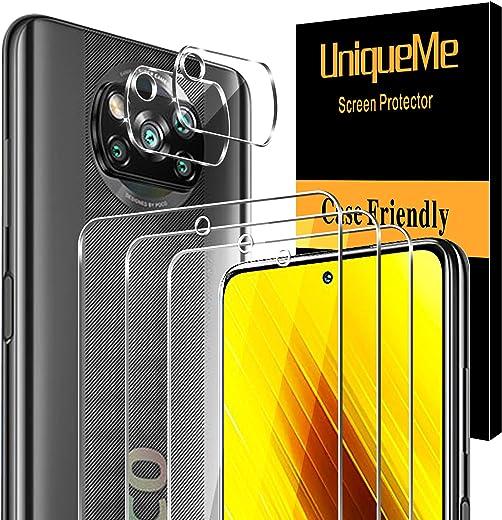 [3 Pack]UniqueMe Protector de Pantalla y [2 Pack] Protector de lente de cámara para para Xiaomi Poco X3 NFC, [Cobertura máxima][Sin Burbujas] HD Cristal Vidrio Templado