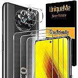 [3 Pack]UniqueMe Protector de Pantalla y [2 Pack] Protector de lente de cámara para para Xiaomi Poco X3 NFC, [Cobertura…