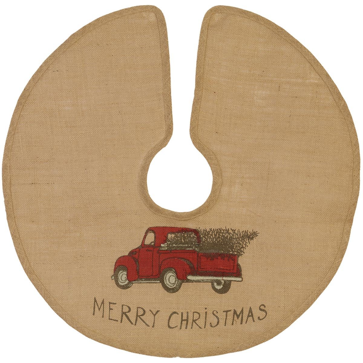 The Country House Christmas Red Truck Burlap Tree Skirt (24'')
