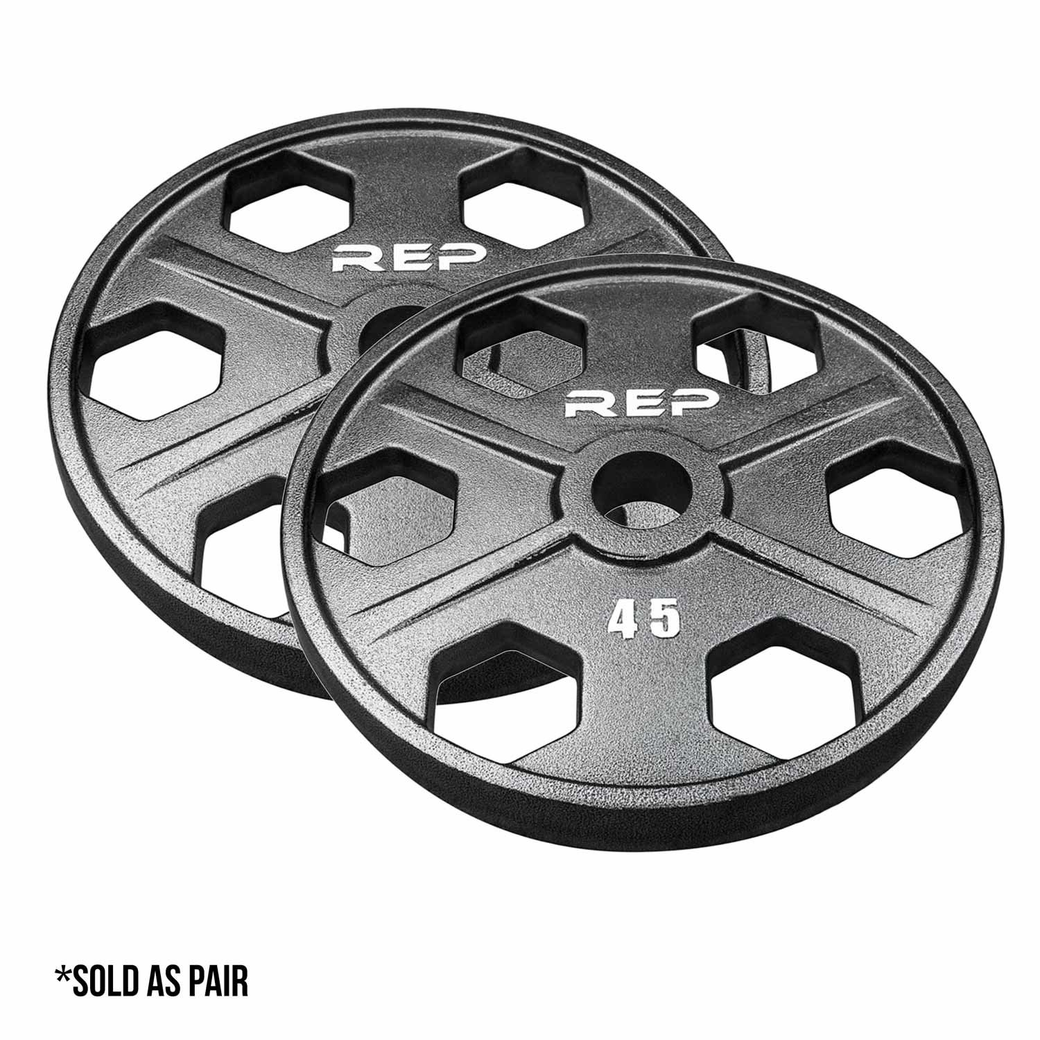 Rep Fitness Rep Gray Equalizer Iron Olympic Plates, 45 lb Pair