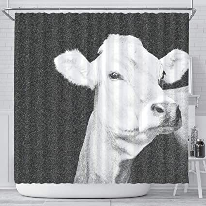 Amazon Pawick Brown Swiss Cattle Cow Print Shower Curtain