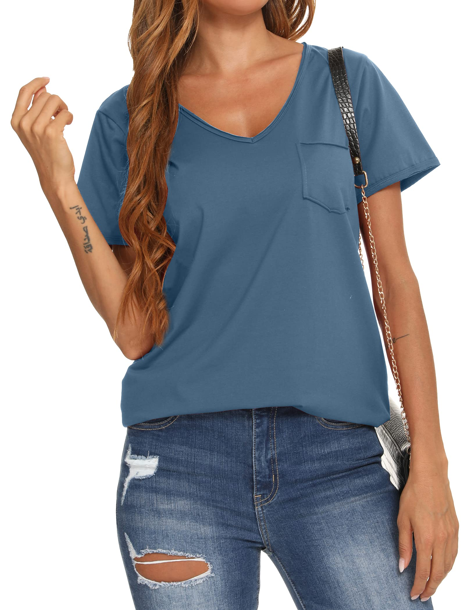 YYA V Neck T Shirts for Women Short Sleeve Shirts Fitted Cute