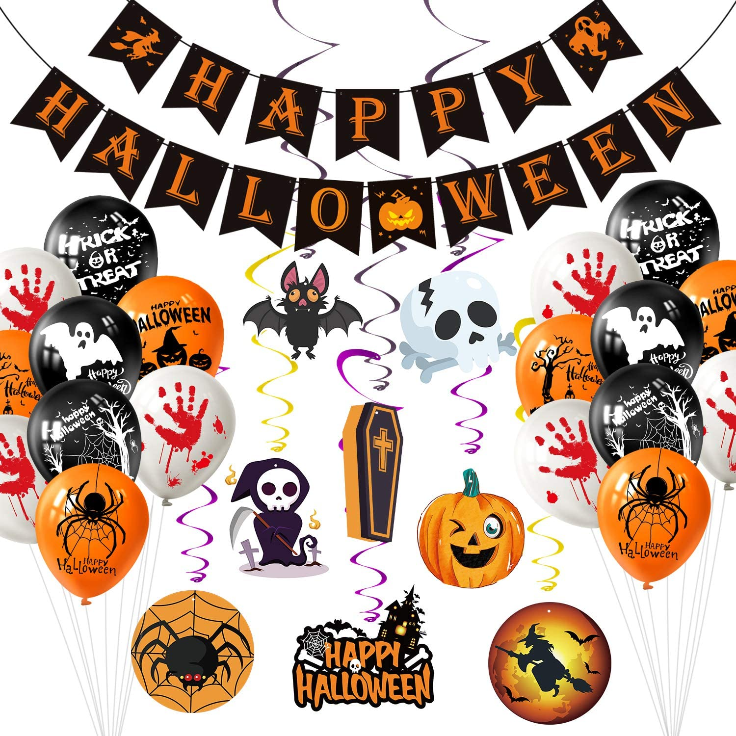 MIAHART Halloween Party Decorations Banner Kit Halloween Paper Garlands with 8 Pack Hanging Swirl and 8 Pack Halloween Pumpkin Wizards Ghost Balloons for Halloween Party Bar Home Decor Supplies Indoor Outdoor