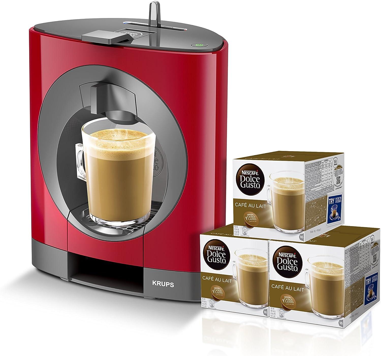 Pack Krups Dolce Gusto Oblo KP1105 - Cafetera de cápsulas, 15 bares de presión, color rojo + 3 packs de café Dolce Gusto Con Leche: Amazon.es: Hogar