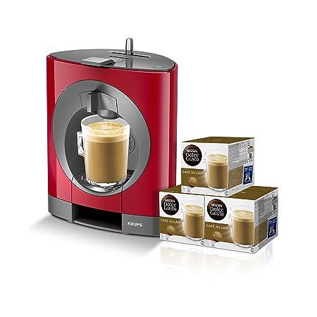Pack Krups Dolce Gusto Oblo KP1105 - Cafetera de cápsulas, 15 bares de presión, color rojo + 3 packs de café Dolce Gusto Con Leche