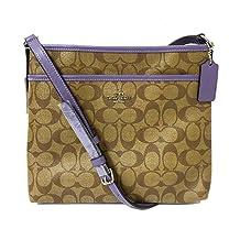Coach Signature Zip File Crossbody Bag (SV/Khaki Light Purple)