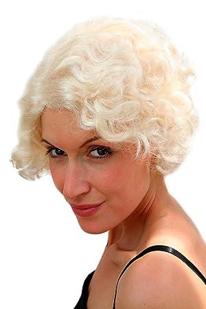 WIG ME UP - peluca corta RUBIO CLARO rizada, Marilyn Monroe, carnaval lm-