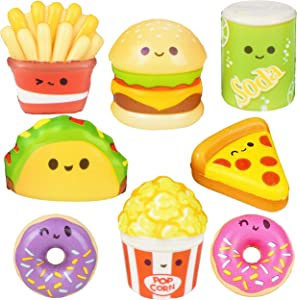 24 Pc Squishy Toys for Kids Fast Food Small Squishies Slow Rising Pack Taco Pizza Hamburger - Stress Relief Fidget Soft Sensory Kawaii Toy Great Gift for Boys & Girls - Size 1.5-2.25