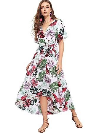 0a3db4b73372d Milumia Women s Boho Deep V Neck Floral Chiffon Wrap Split Long Dress Small  Multicolor-4  Amazon.co.uk  Clothing