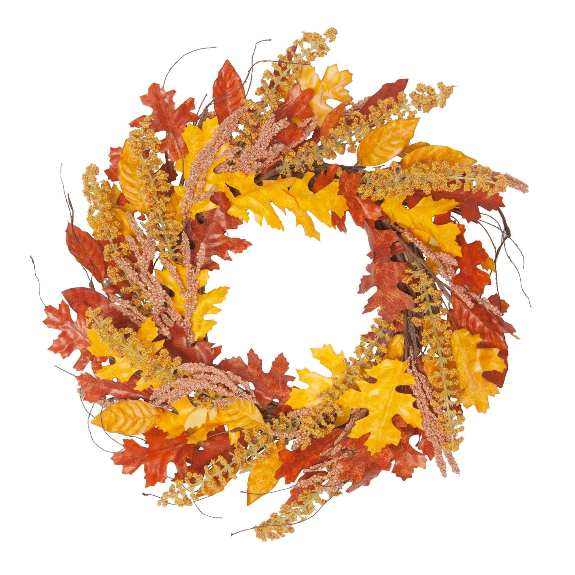 VGIA 18InchFallWreathFront Door Decor WreathFall Decorations for HomeAutumnLeavesWreath by VGIA