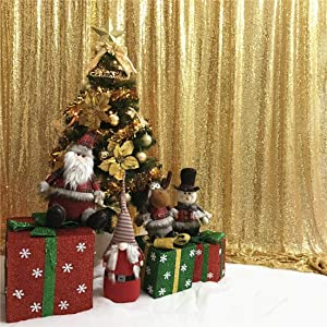 TRLYC 8Ftx8Ft Gold Shimmer Photography Backdrop Sequin Wedding Curtain