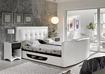 Super King Size White Bowburn TV Bed Exclusively At The Store