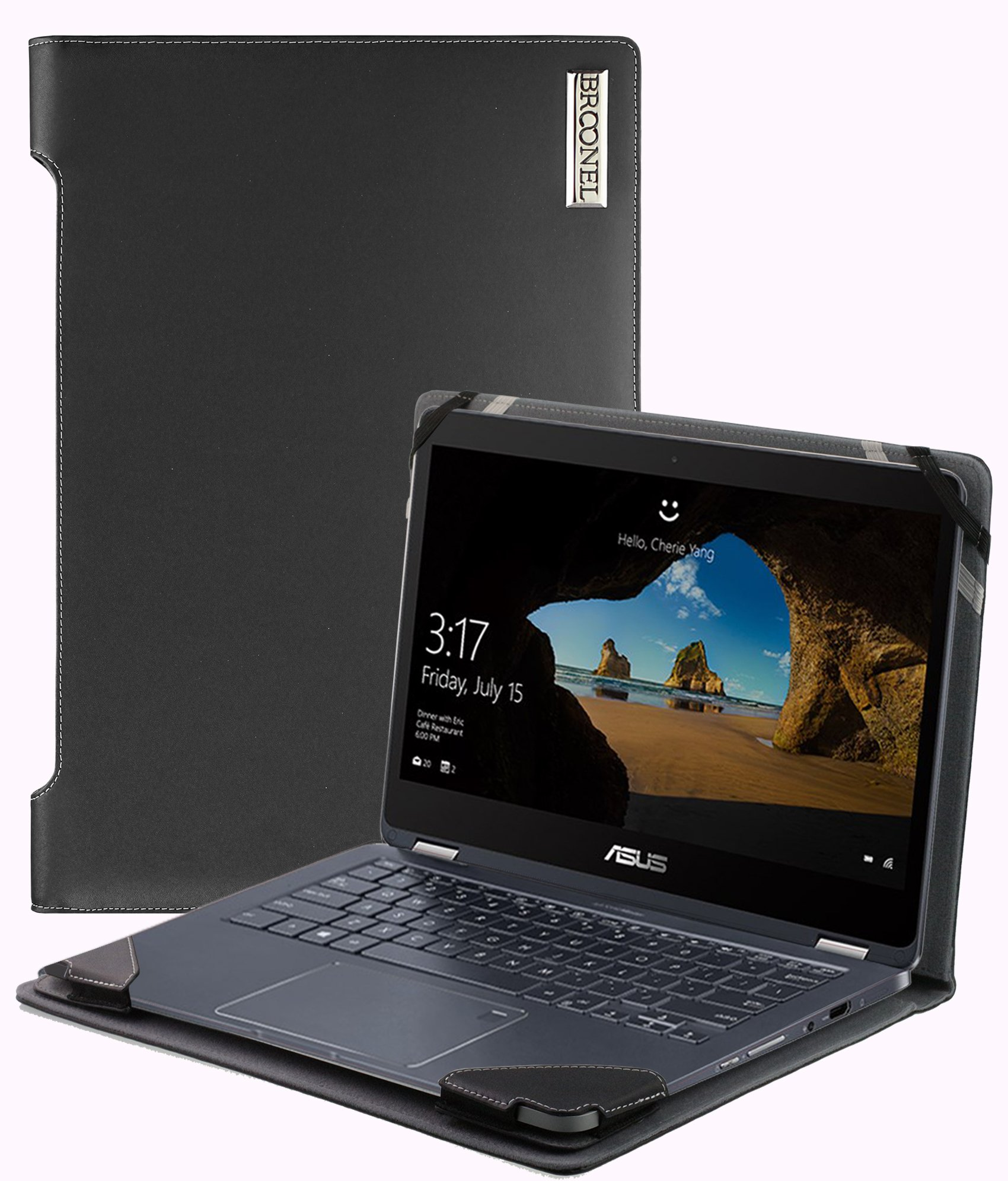 Broonel - Profile Series - Black Leather Luxury Laptop Case For The ASUS NovaGo TP370QL | 2-in-1 13.3 Inch