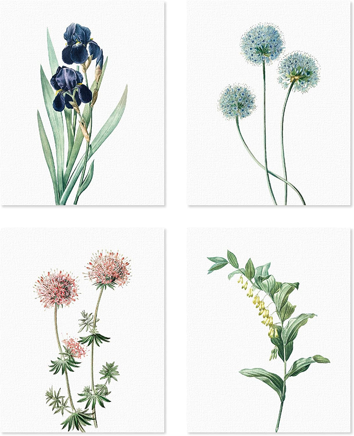 PapaKit Botanical Floral Garden - 4 Piece 8x10 inches Unframed Canvas Painting Print Set Wall Art Decoration