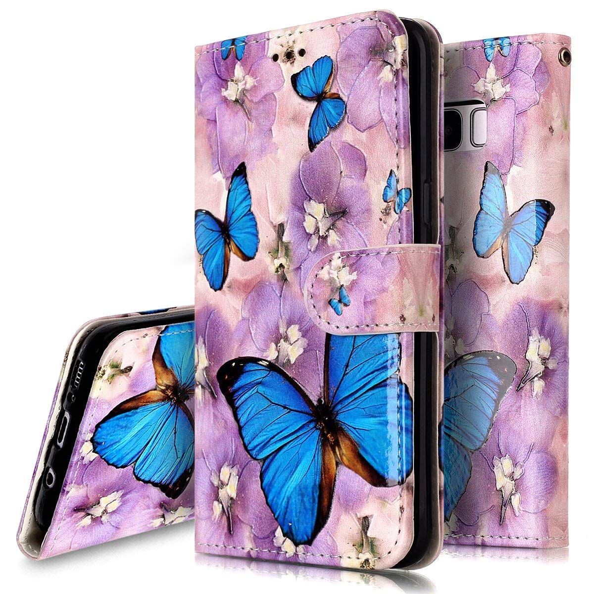 PHEZEN Case for Samsung Galaxy A50 Wallet Case,Retro Art Paint PU Leather Bookstyle Magnetic Stand Flip Folio Case Full Body Protective Phone Case Cover for Galaxy A50 - Flower Butterfly by PHEZEN