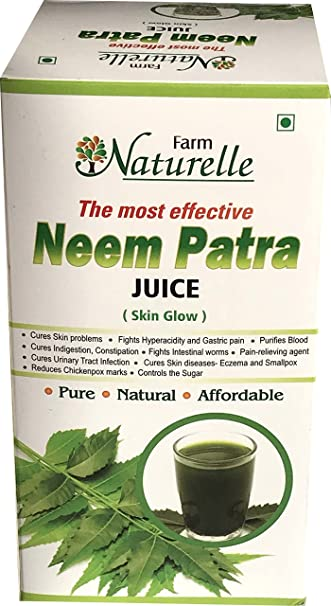 Farm Naturelle (Farm Natural Produce) 1 Herbal Neem Patra Juice/Ras+The  Finest 400 ml Skin Care and Blood Cleaning