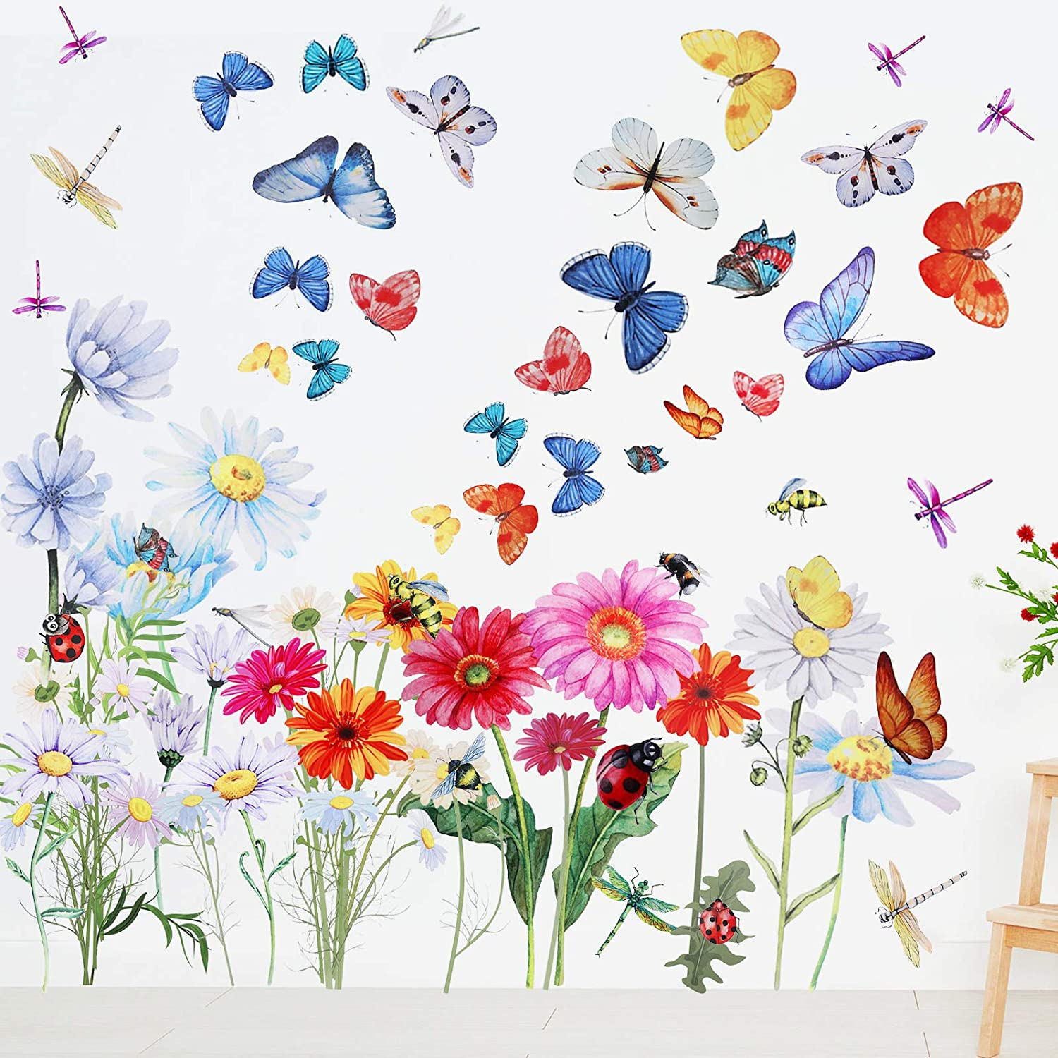 65 Pieces Chrysanthemums Flowers Wall Decal Garden Butterflies Dragonflies Vinyl Wall Decals Stickers Removable Peel and Stick for Kids Room Nursery Classroom Bedroom Decoration (Colorful)
