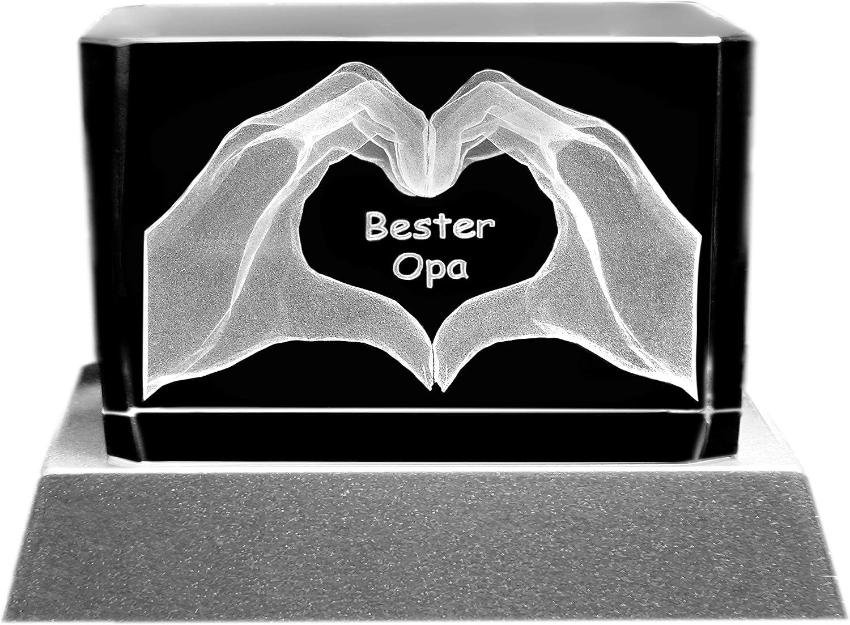 Kaltner Präsente––Un Regalo especial: LED Vela/bloque de cristal/3d de Laser de Grabado Diseño Manos/Ich liebe dich/mejor abuelo