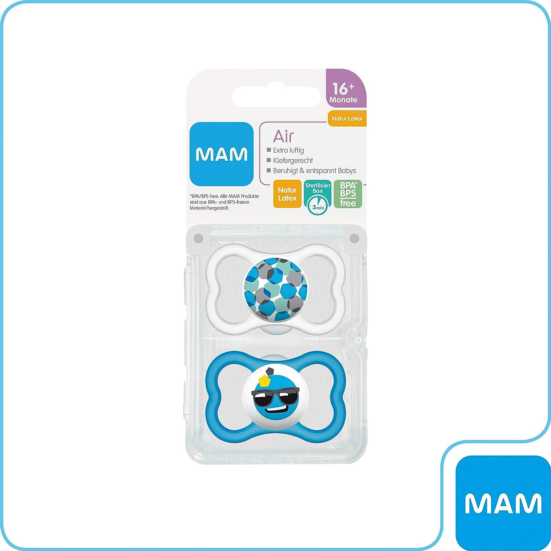 extra leichtes und luftiges Schilddesign MAM Air Latex Schnuller im 2er-Set blau Baby Schnuller aus Naturkautschuk mit Schnullerbox 16+ Monate