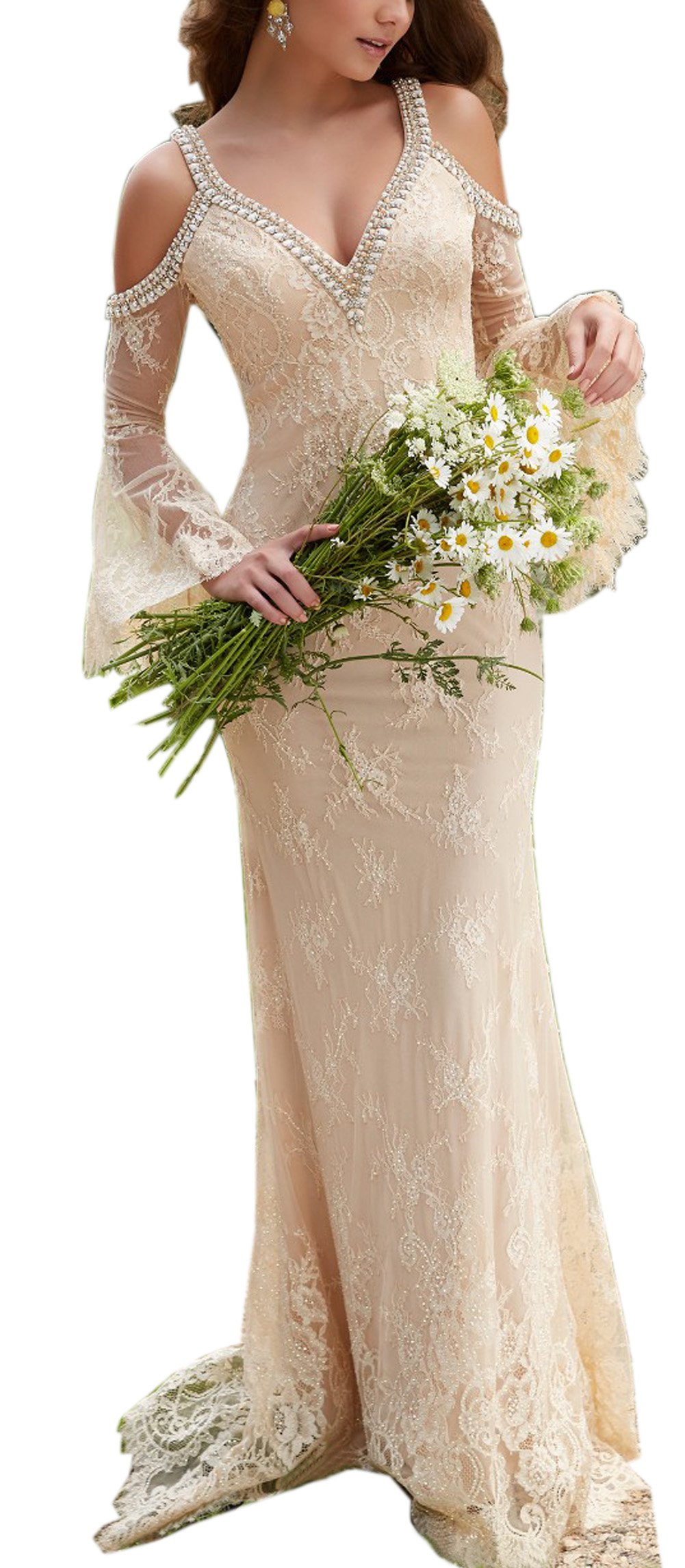 Sayadress Women's Boho Beaded Lace Long Beach Wedding Dress Crystals Straps with Trumpet Sleeves Champagne US12