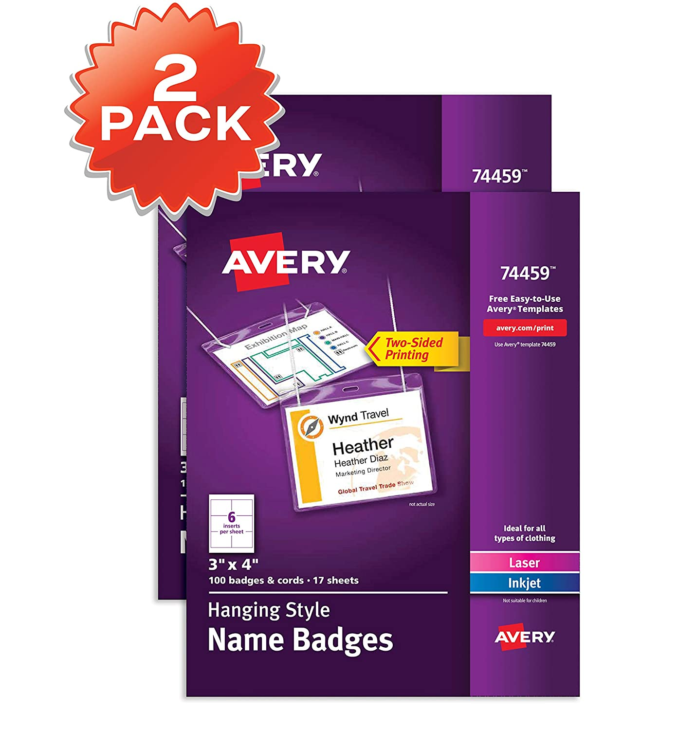 Amazon Avery Name Badges With Lanyards Print Or Write 3 X 4 Badge Holders 200 Inserts 74459