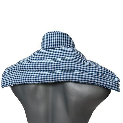 Cojín hombros y nuca con cuello con semillas de colza   azul y blanco   cojín térmico con semillas