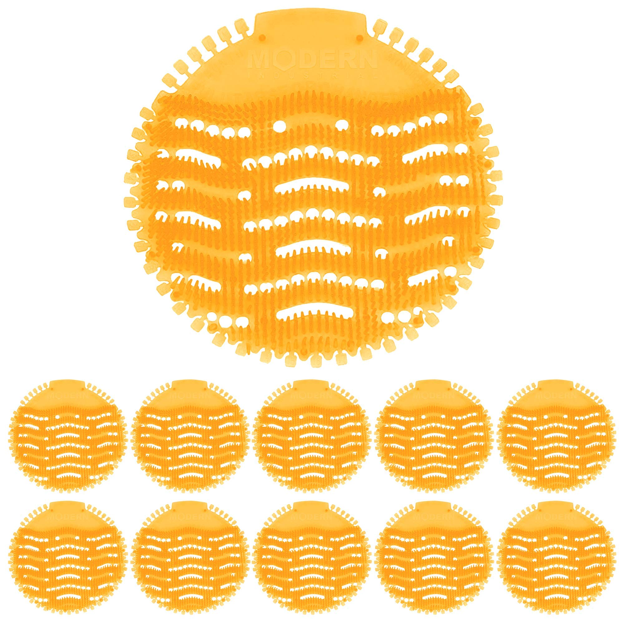 Urinal Screen & Deodorizer (10-Pack) by Modern Industrial - Fits Most Top Urinal Brands at Restaurants, Offices, Schools, etc. (Orange Citrus) by Modern Industrial