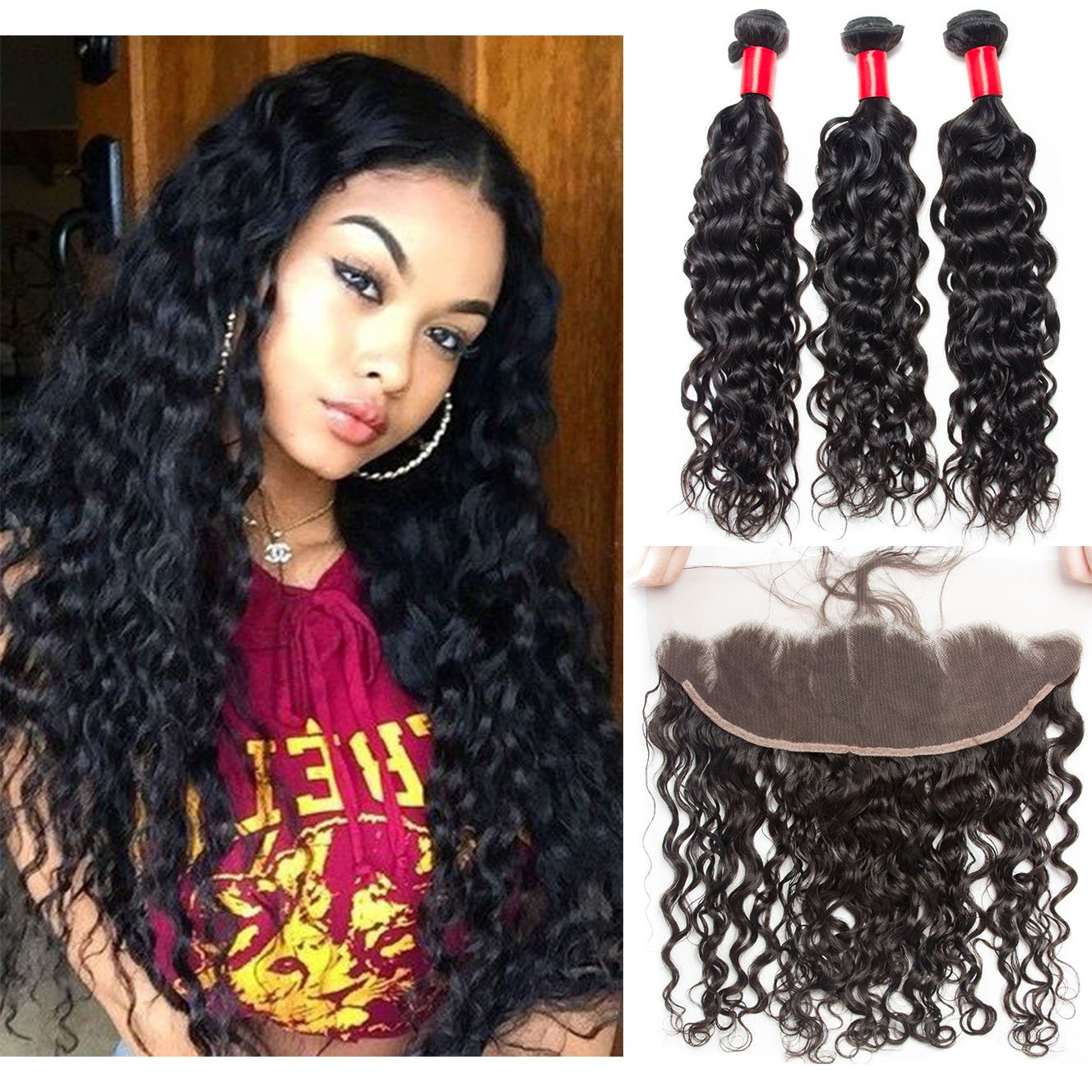 VIPbeauty Hair Bundles with Frontal Best Virgin Brazilian Hair Bundles Black Hair Water Wave Frontal Lace Closure with Bundles (10 12 14+10)