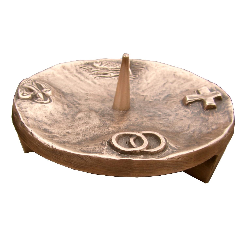 Taufkerzenleuchter Kerzenleuchter Leuchter 4 Symbole 11, 5 cm Bronze Edelpatina braun Wilde Kunstgusshandel 4260402360195