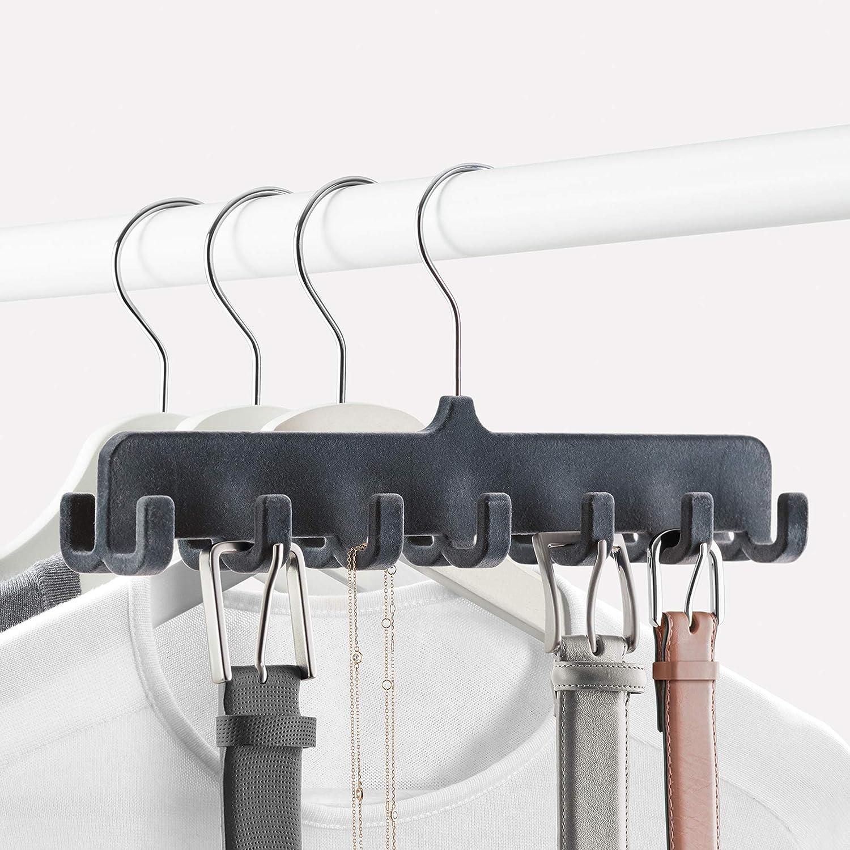 Dunkelgrau Ma/ße ABS beflockt 31,5 x 14,4 x 4,5 cm Rayen G/ürtelaufh/änger f/ür 14 St/ück Kleiderb/ügel zum Aufh/ängen oder anderes Zubeh/ör
