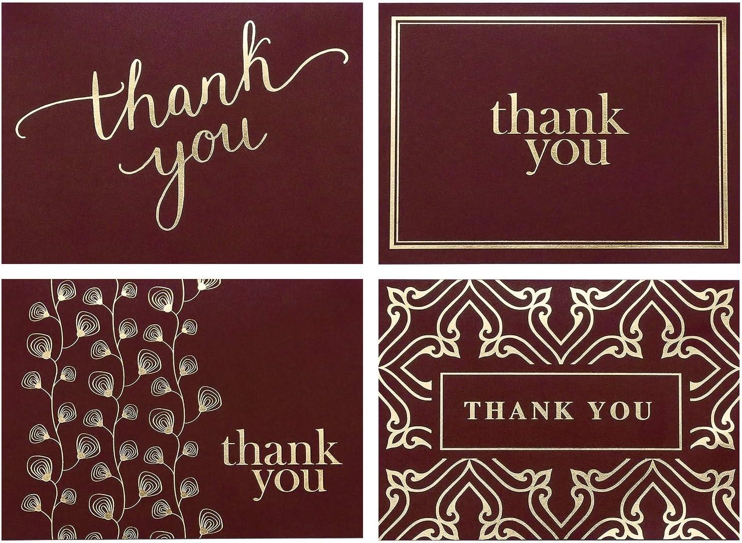 Burgundy Floral Wedding Thank You Cards Bridal Shower Thank You Cards Note Cards with Envelopes Thank You Cards Wedding