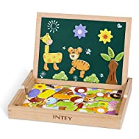 INTEY Magnetisches Holzpuzzle Puzzle Tafel Doppelseitiges Magnetisches Holzspielzeug mit Bunten Teilen Kreiden & Stiften Geschenk für Kleinkinder ab 3 Jahren