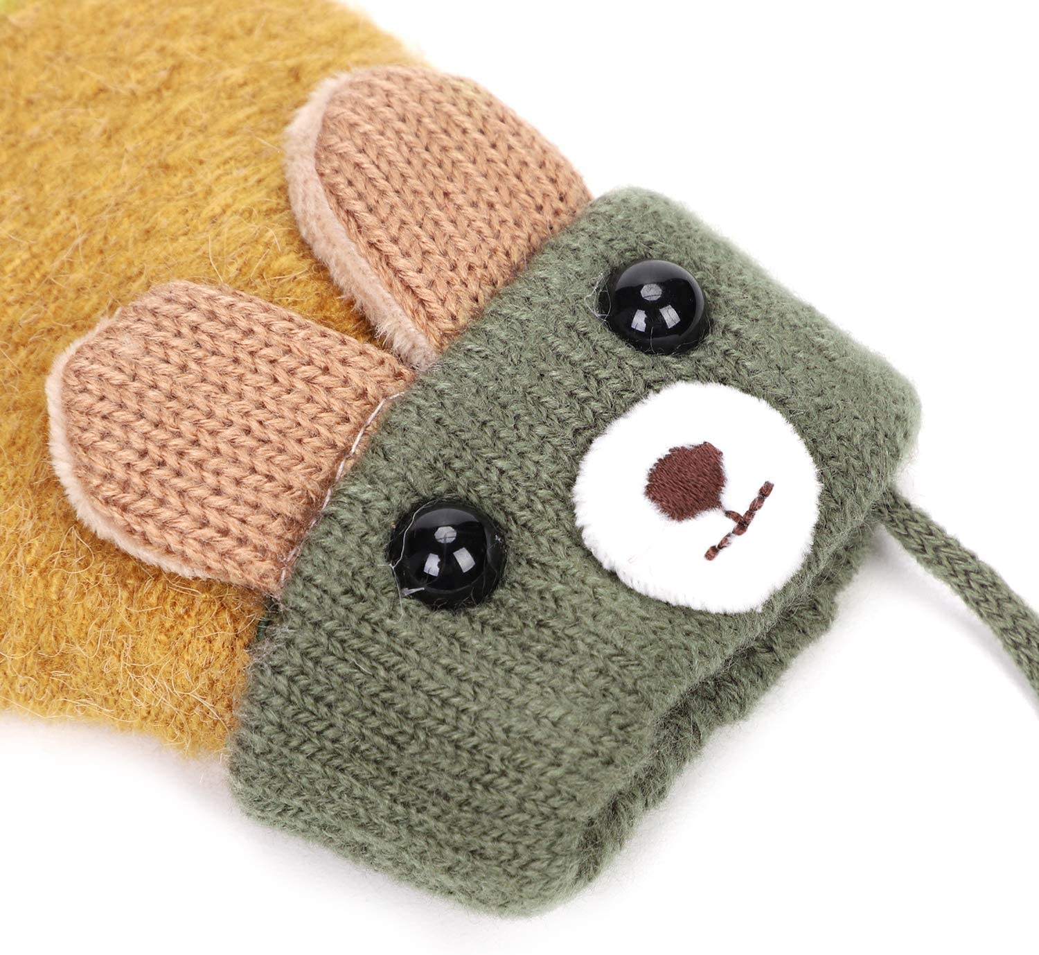 Kids Knitted Mittens Stretchy Soft Full Finger Mittens Adjustable Hanging String Winter Warm Gloves Thick Velvet Lining Cute Cartoon Bear Infant Winter Keep Warm Home Outdoor Costume Accessories