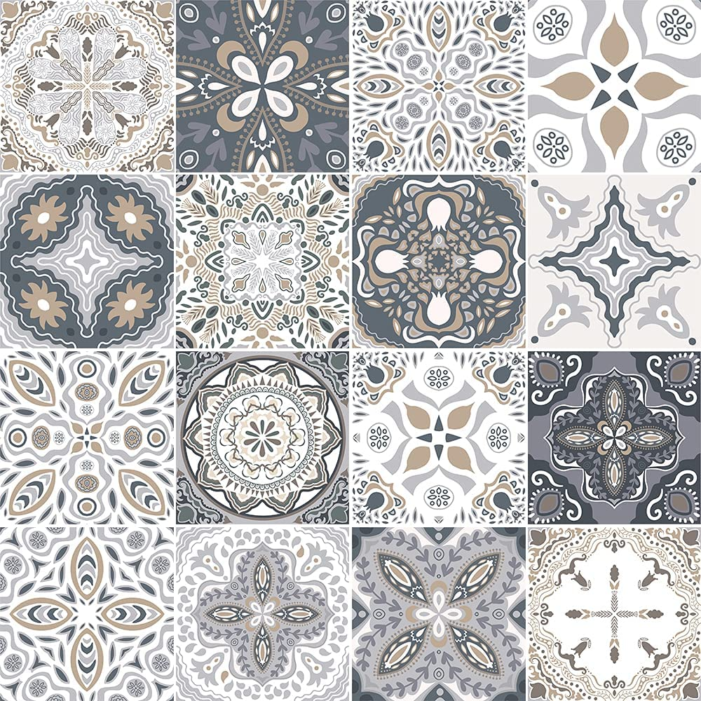 Decorative Tile Stickers DIY for Home Decor- (Pack of 16) 6x6 Inch Easy to Peel and Stick Vinyl Tile Decals - Matte Finish Laminated for Kitchen Wall Stairs Furniture Staircase
