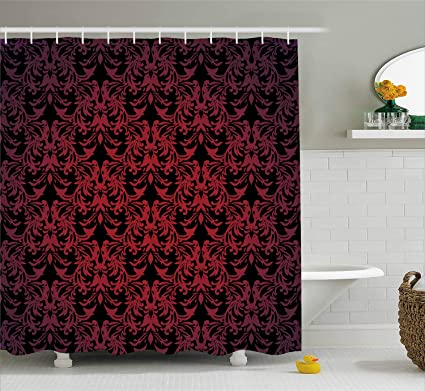Ambesonne Red And Black Shower Curtain By Victorian Antique Old European Design Floral Swirls